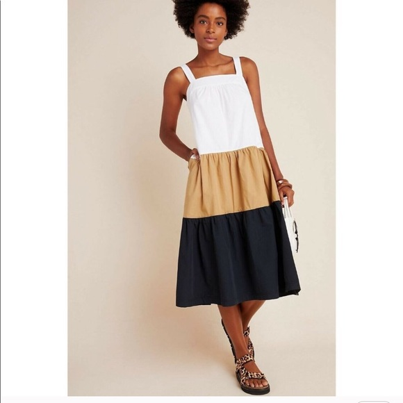 ANTHROPOLOGIE Maeve Colorblock Dress XS Petite